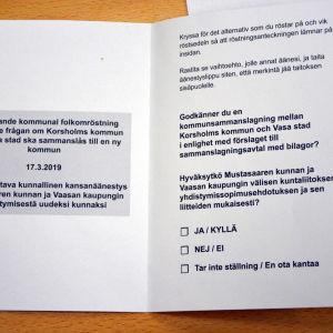 Valsedel för den rådgivande folkomröstningen i Korsholm.