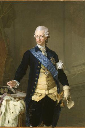 Till vänster Gustav III i kuppmakaruniformen, såsom han såg ut på Revolutionsdagen den 19 augusti 1772 - avmålad 1777 av Lorens Pasch den yngre.