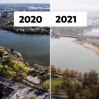 Två bilder vid sidan om varandra, Tölöviken i 2020 och år 2021.