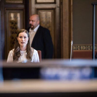 Sanna Marin i Ständerhuset 3.5.2020.
