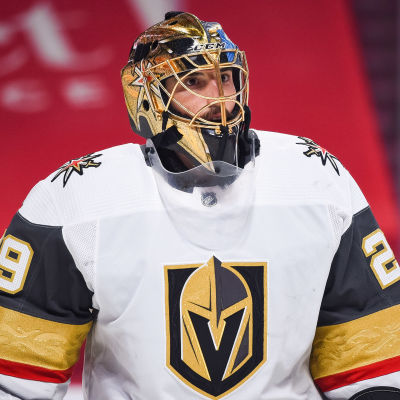 Marc-André Fleury i Vegas tröja under en match.