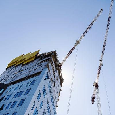 Kuvassa on Uros Live -areenan rakennustyömaa Tampereella kesäkuussa 2020.