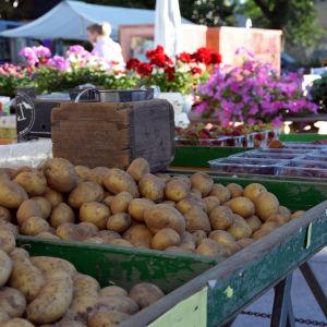 Potatis i ett torgstånd.