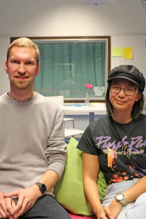 Barnträdgårdslärarstuderande Kristian Svensson och Linnea Holm.