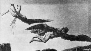 Bild av Ikaros och Daidalos ute på flygtur