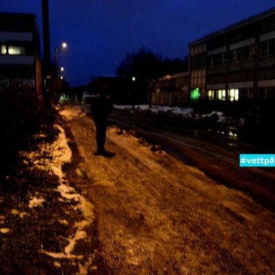 reflexlös fotgängare på mörk gata.