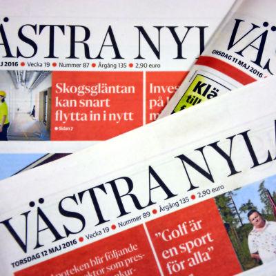 Västra Nylands tidningshuvud.