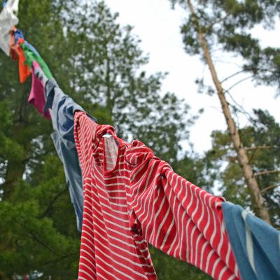Rödrandig skjorta hänger.