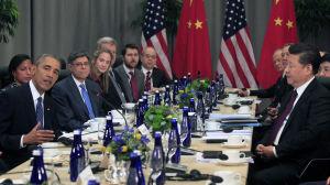 USA:s president Barack Obama och Kinas president Xi Jinping under kärnsäkerhetsmöte i mars-april 2016.