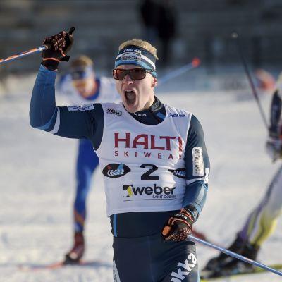 Juho Mikkonen vinner FM-sprinten, Imatra, 29.1.2016.