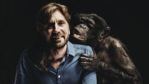 Elokuvaohjaaja Ruben Östlund apinan kera. The Square -elokuvan mainoskuva.
