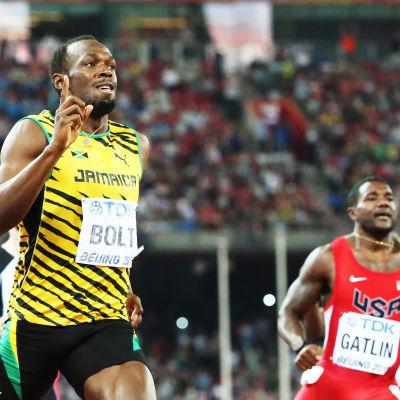 Usain Bolt och Justin Gatlin, 200m, VM i Peking 2015.