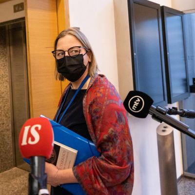 Tytti Yli-Viikari anländer för att höras av stora utskottet.