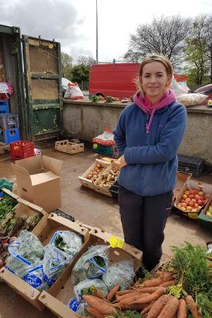 Sarah McGerriarty säljer grönsaker i Strabane på gränsen mellan republiken Irland och Nordirland.