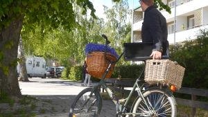 Person leder en cykel med en dataskärm i korgen baktill.