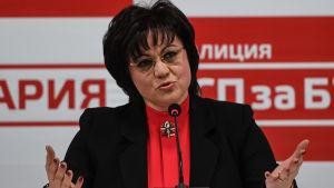 Socialistledaren Kornelia Ninova medgav valförlusten sent på söndag kväll