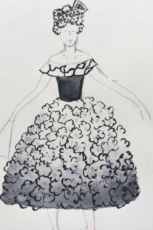En skiss av en operaklänning.