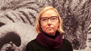Författaren Catharina Gripenberg på bokmässan i Helsingfors 2016. Färgjusterad.