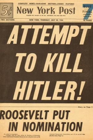 new York Post förstasida den 20 juli 1944 med skrikande rubrik om mordförsöket på Hitler.