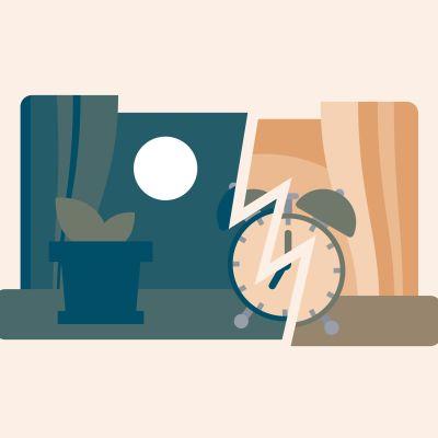 En väckarklocka som visar sju, med vänstra halvan av bilden med månsken och natt och högra med solsken.