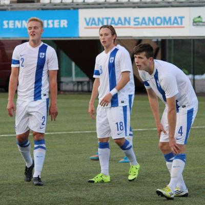 Finlands U21-landslag i fotboll mot Färöarna hösten 2015.