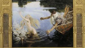 Väinämöinen sträcker ut händerna efter Aino som flyr naken i Akseli Gallen-Kallelas målning.