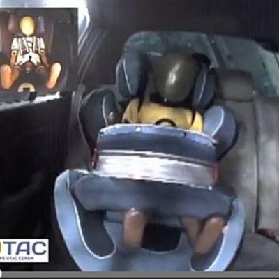 Nukke istuu auton turvaistuimessa.