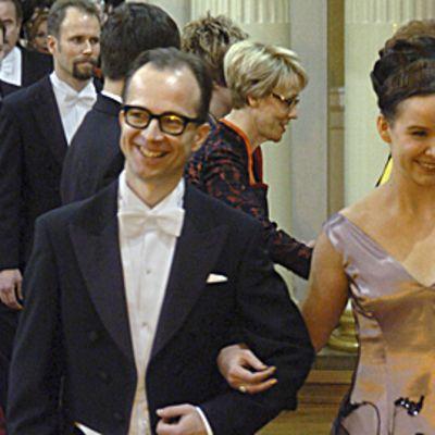 Simo Frangén ja Rosa Meriläinen presidentin itsenäisyyspäivän vastaanotolla 2004.
