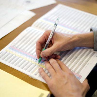 Äänten tarkistuslaskentaa Göteborgissa.