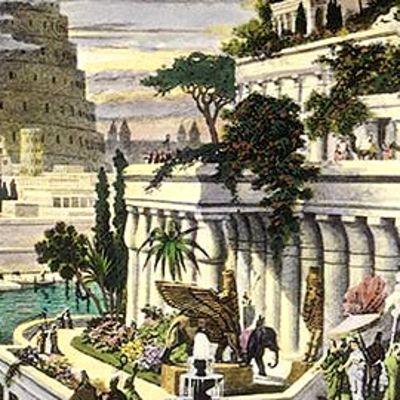 Martin Heemskerckin kaiverrus 1500-luvulta esittää myyttisiä Babylonin Riippuvia puutarhoja, taustalla Baabelin torni.