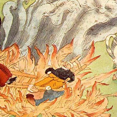 Osa sveitsiläisen Johann Jakob Wickin kolmen noidan polttamista Badenissa, Sveitsissä vuonna 1585 kuvaavasta maalauksesta.