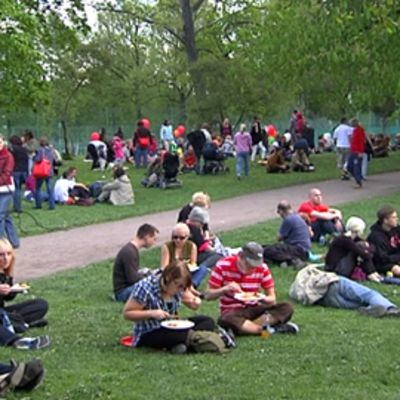 people sitting in park