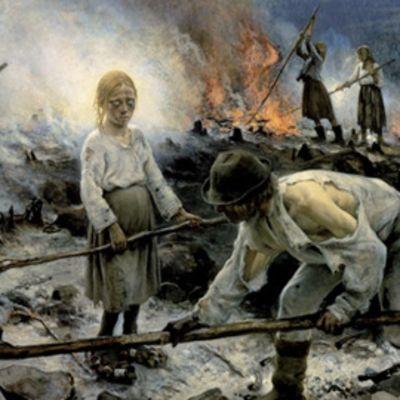 Eero Järnefeltin maalaus Raatajat rahanalaiset