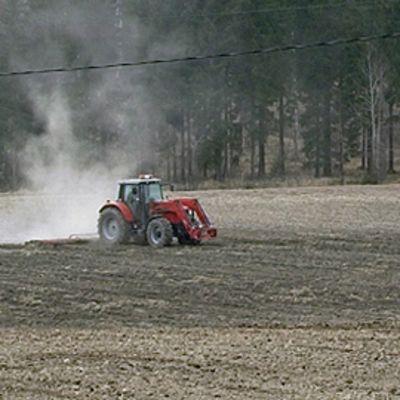 Traktori pellolla
