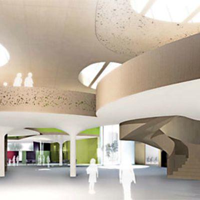 Kastellin monitoimitalon arkkitehtikilpailun voittaneen työn havainnekuva.