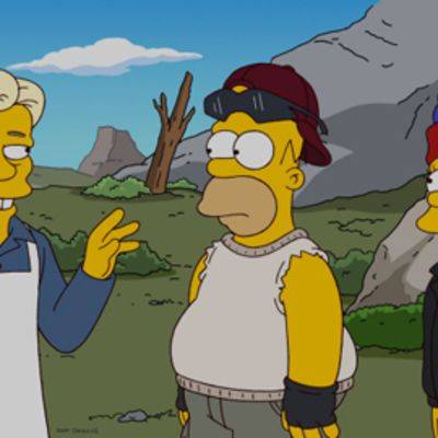 Kuva Simpsons-ohjelman jaksosta, jossain Julian Assange esiintyy.