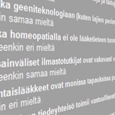 Yksityiskohta Skepsis ry:n ja Humanistiliiton vaalikyselysivustolta.