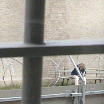 Vanki istuu Riihimäen vankilan pihalla.