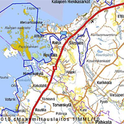 Kuvassa sinisellä karttaa rajattuna Natura -suojelualue.