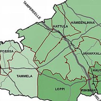 Kanta-Hämeen kuntakartta