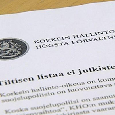 Korkeimman hallinto-oikeuden päätösasiakirja