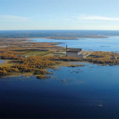 Havainnekuva Fennovoiman Pyhäjoelle kaavailemasta ydinvoimalasta