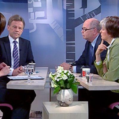 Mauri Pekkarinen, Eero Heinäluoma ja Astrid Thors Aamu-TV:n vieraina