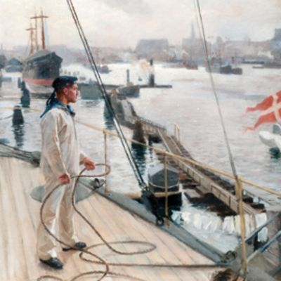Albert Edelfeltin öljyvärimaalaus Kööpenhaminan ankkuripaikalta I vuodelta 1890.