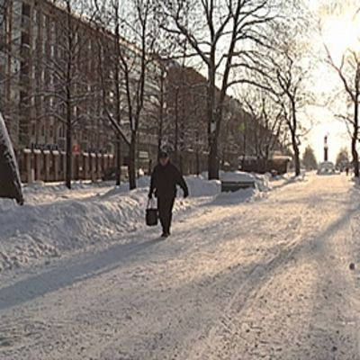 Hämeenpuisto talvella.
