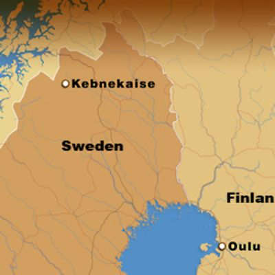 Map of Finland and Sweden, showing the Kebnekaise mountain.