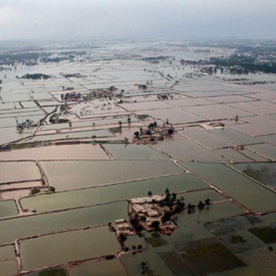 Näkymä monsuunisateiden aiheuttamista laajoista tulvista.