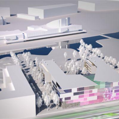 Havainnekuva Töölönlahdelle nousevasta Almamedian ja Eteran rakennuksesta.