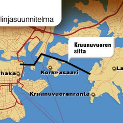 Suunniteltu raitiovaunureitti kulkisi Kruunuhaasta Sompasaaren ja Korkeasaaren kautta uudelle Kruunuvuorenrannan asuinalueelle.