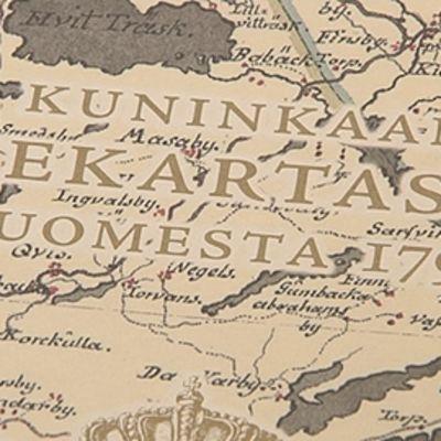 Kuva 1700-luvun Suomen-tiekartasta.
